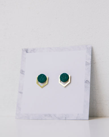 Psi Brass/Teal Earring-Earrings-Sancho's Dress