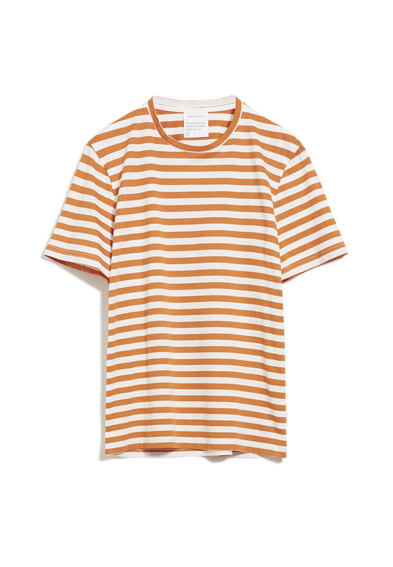 100% Organic Cotton Jaames Breton Striped T-shirt in Dark Orange-Off White from Armedangels