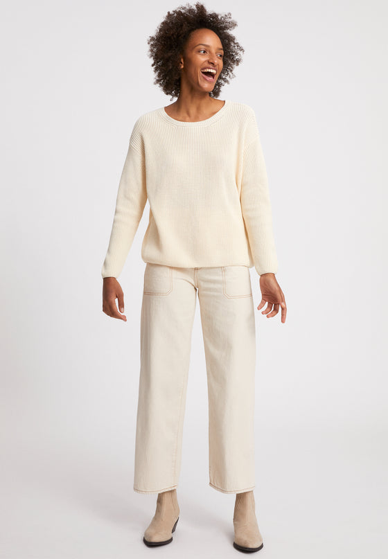 Organic Cotton Nuriellaa Knitted Jumper in Oatmilk Cream from Armed Angels