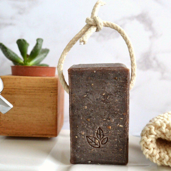 Handmade Coffee and Raw Cacao Soap on a Rope, Extra Large Soap, Vegan Soap from Soap Daze