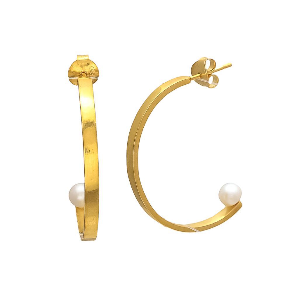 Pearl Half Hoops-Earrings-Sancho's Dress