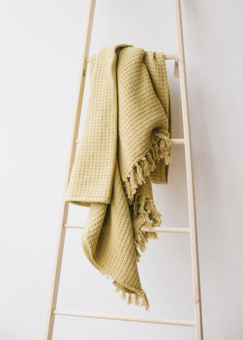 Jacquard Throw with Tassels in Old Gold-Homeware-Sancho's Dress