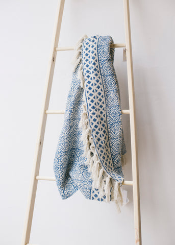Blockprint Indigo Throw with Tassels-Homeware-Sancho's Dress