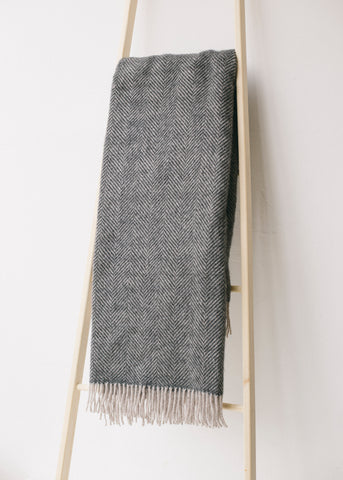 Lifestyle Herringbone Throw in Charcoal/Silver-Homeware-Sancho's Dress