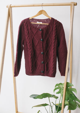 Fern Aran Cardigan in Rust-Knitwear-Sancho's Dress
