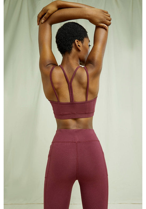 Organic Cotton Yoga Y-back Crop Top Sports Bra  in Burgundy from People Tree