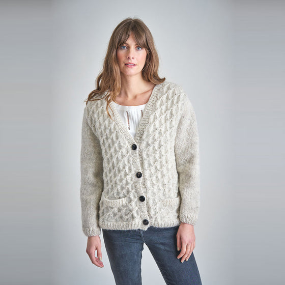 Sustainable Hand Knitted Cardigan in Ecru from Female-led Sancho's in Exeter, Devon