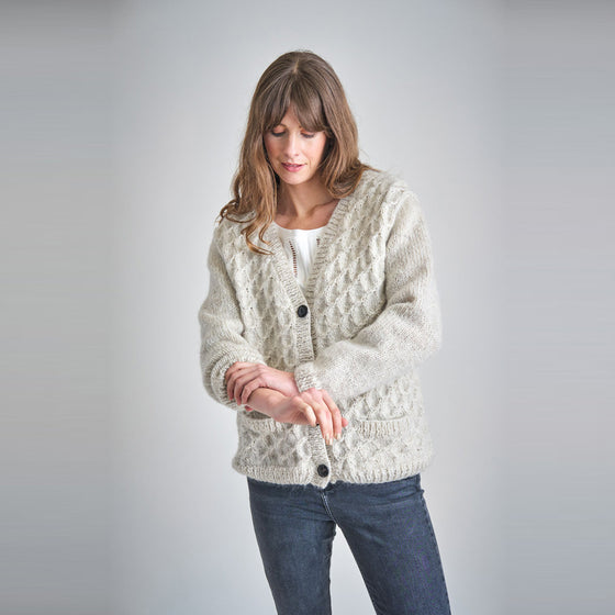 Jade Hand Knitted Cardigan in Ecru