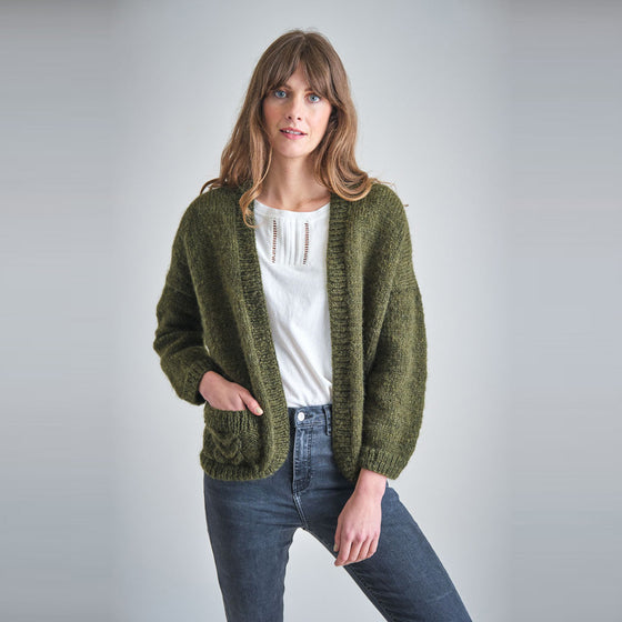 Ethical Handmade Cardigan in Green from Black-owned Sanchos in Exeter
