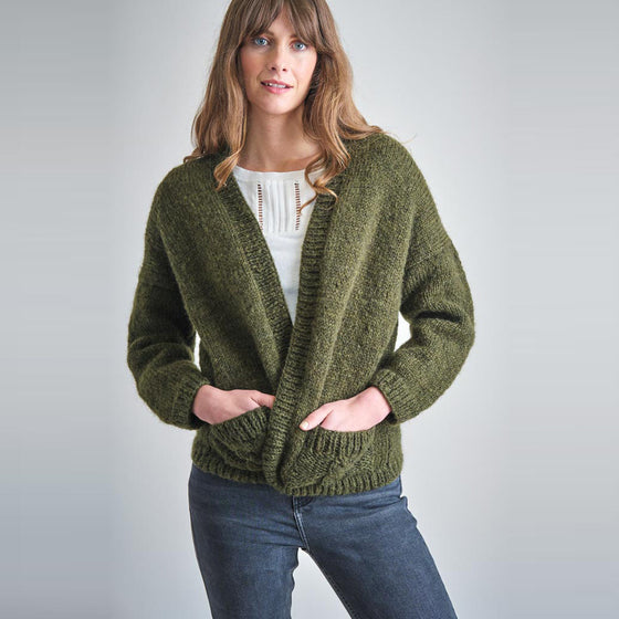 Lara Hand Knitted Open Cardi in Forest Green