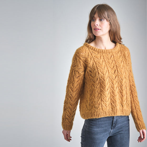 Christy Hand Knitted Lacy Jumper in Toffee