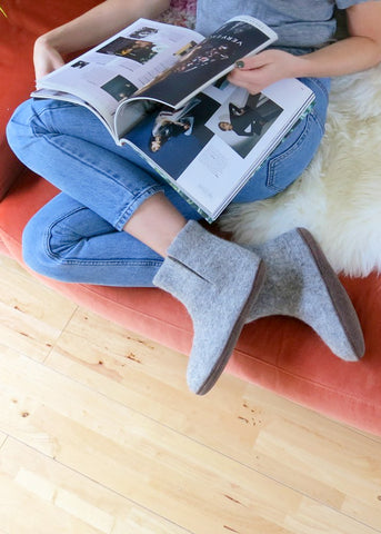 Bidi Felt Slipper Boots - Light Grey-Shoes-Sancho's Dress