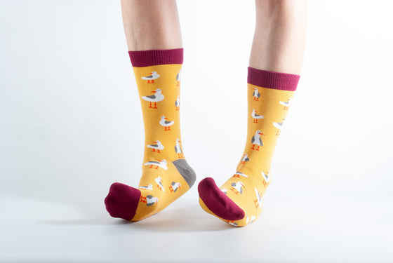 Bamboo Socks Gold Seagull Print UK 3-7 from Doris & Dude