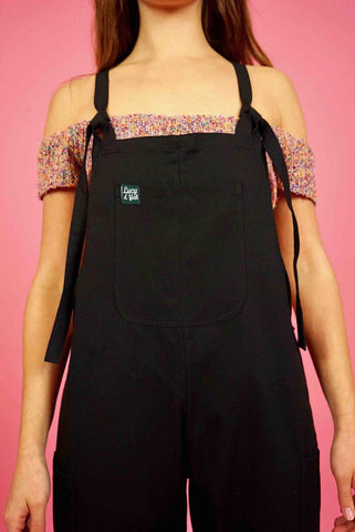 Luna Twill Cotton Dungarees in Black-Dungarees-Sancho's Dress