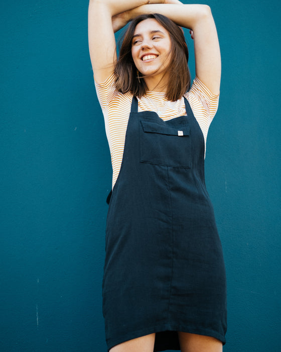 Cup Pinafore in Navy - Sancho's Own-Dress-Sancho's Dress