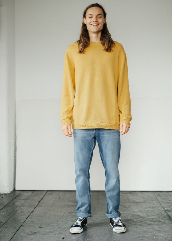 Knitted Organic Cotton Edmund Jumper in Marigold Yellow from Komodo