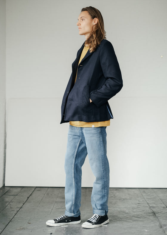 Flagship Pea Coat in Indigo