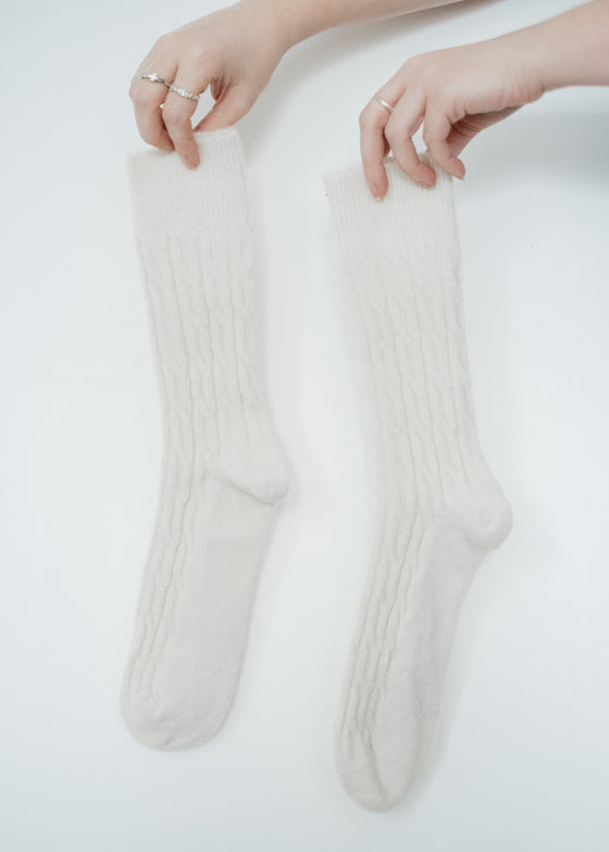 Natural Organic Cable Socks in Cream Oatmeal from Komodo
