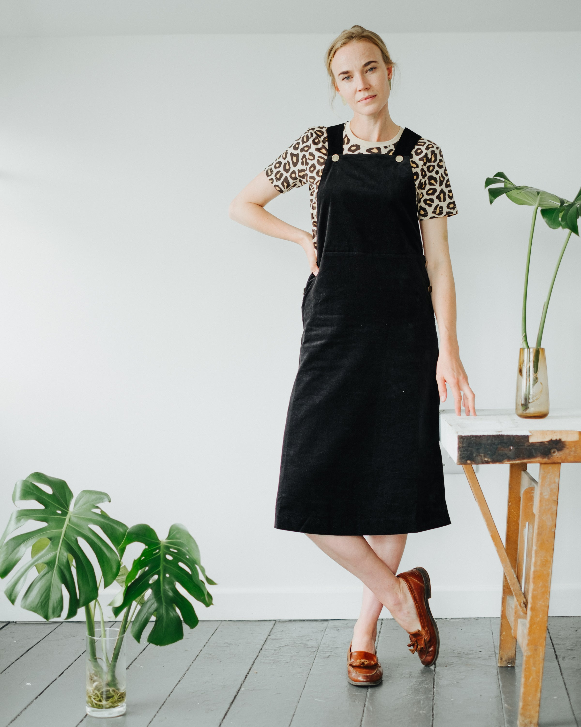 Mindy Velvet Pinafore in Black-Dress-Sancho's Dress