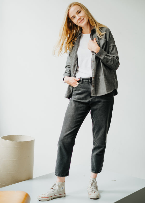 Elodie Herringbone Overshirt in Grey-Top-Sancho's Dress