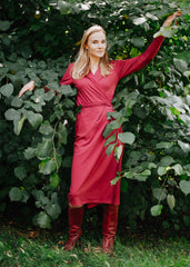 Imogen Wrap Dress in Red-Dress-Sancho's Dress