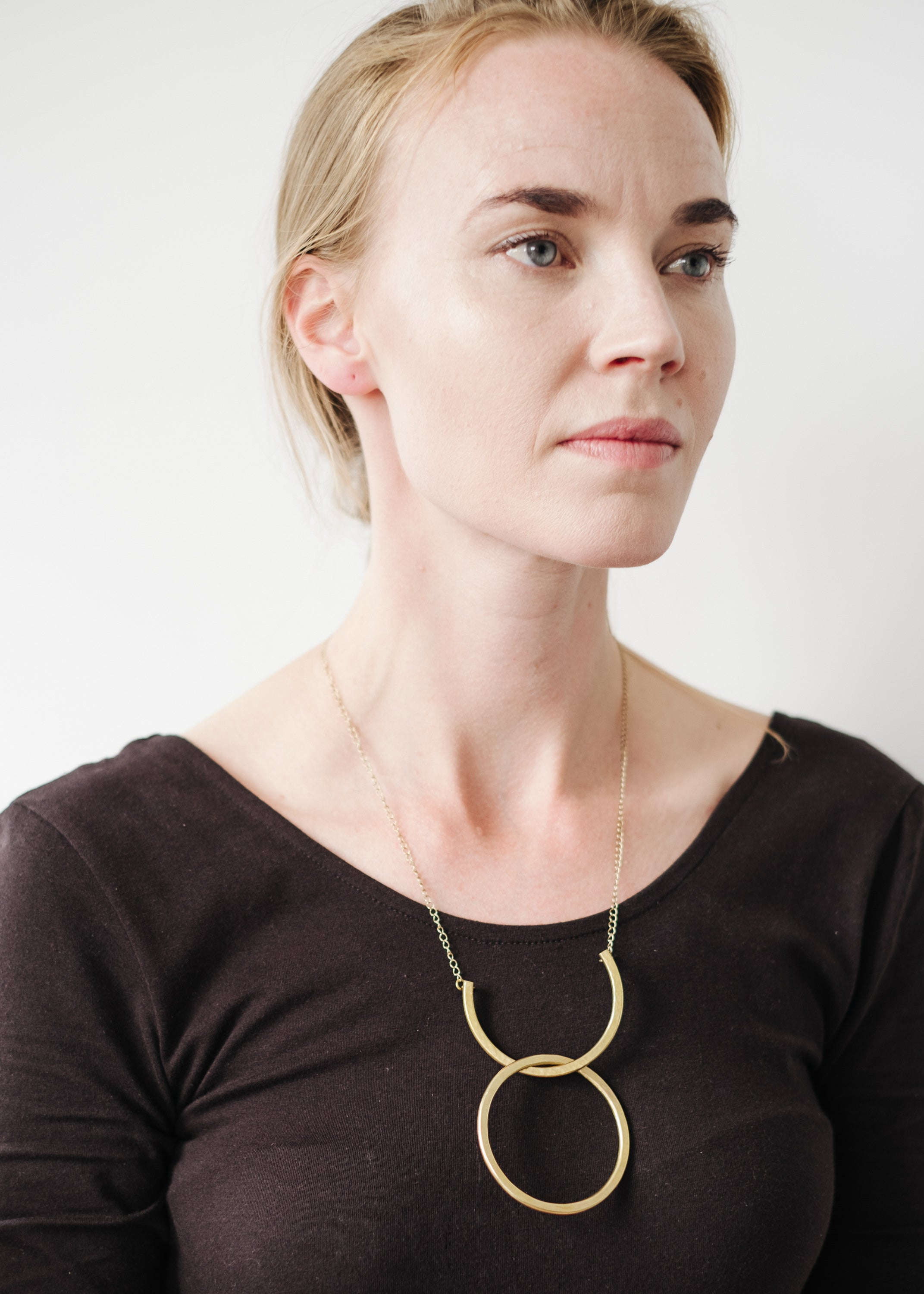 Arc and Hoop Necklace in Brass-Necklace-Sancho's Dress