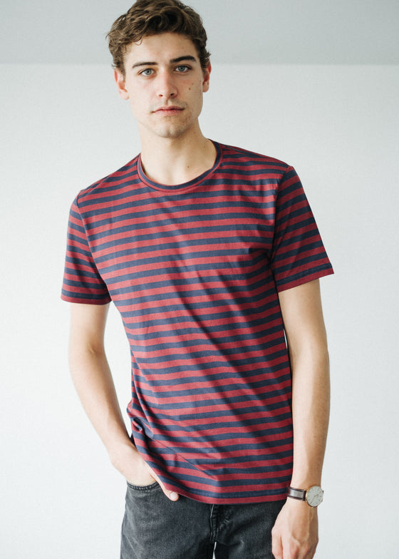 Jaames Breton in Red Pear-Navy-T-shirt-Sancho's Dress