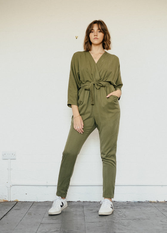 Tencel Jumpsuit in Sage Green-Jumpsuit-Sancho's Dress