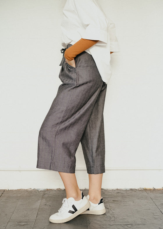 Tallulah Herringbone Trousers in Grey-Trousers-Sancho's Dress