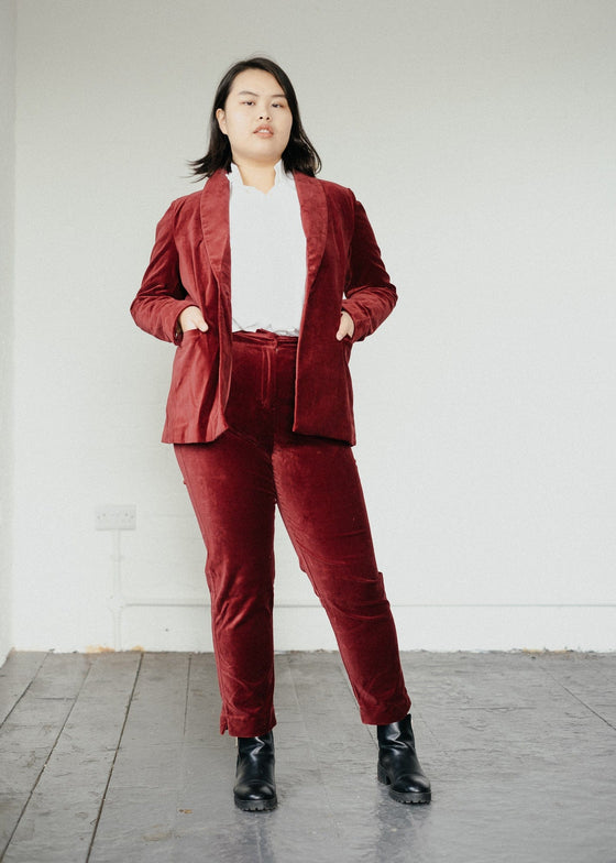 Zillah Trousers in Redcurrant Red-Trousers-Sancho's Dress