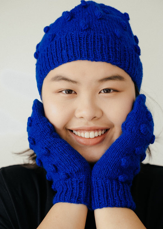 Bobble Mittens in Blue-Mittens-Sancho's Dress