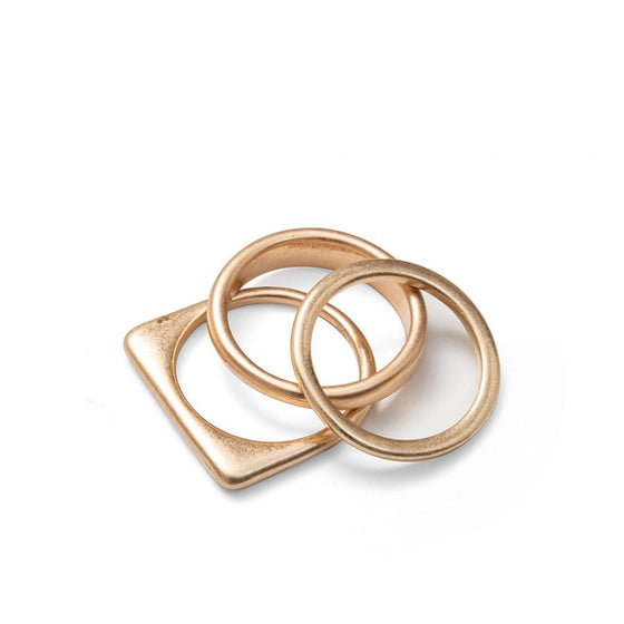 Flat Square Set of Rings in Gold