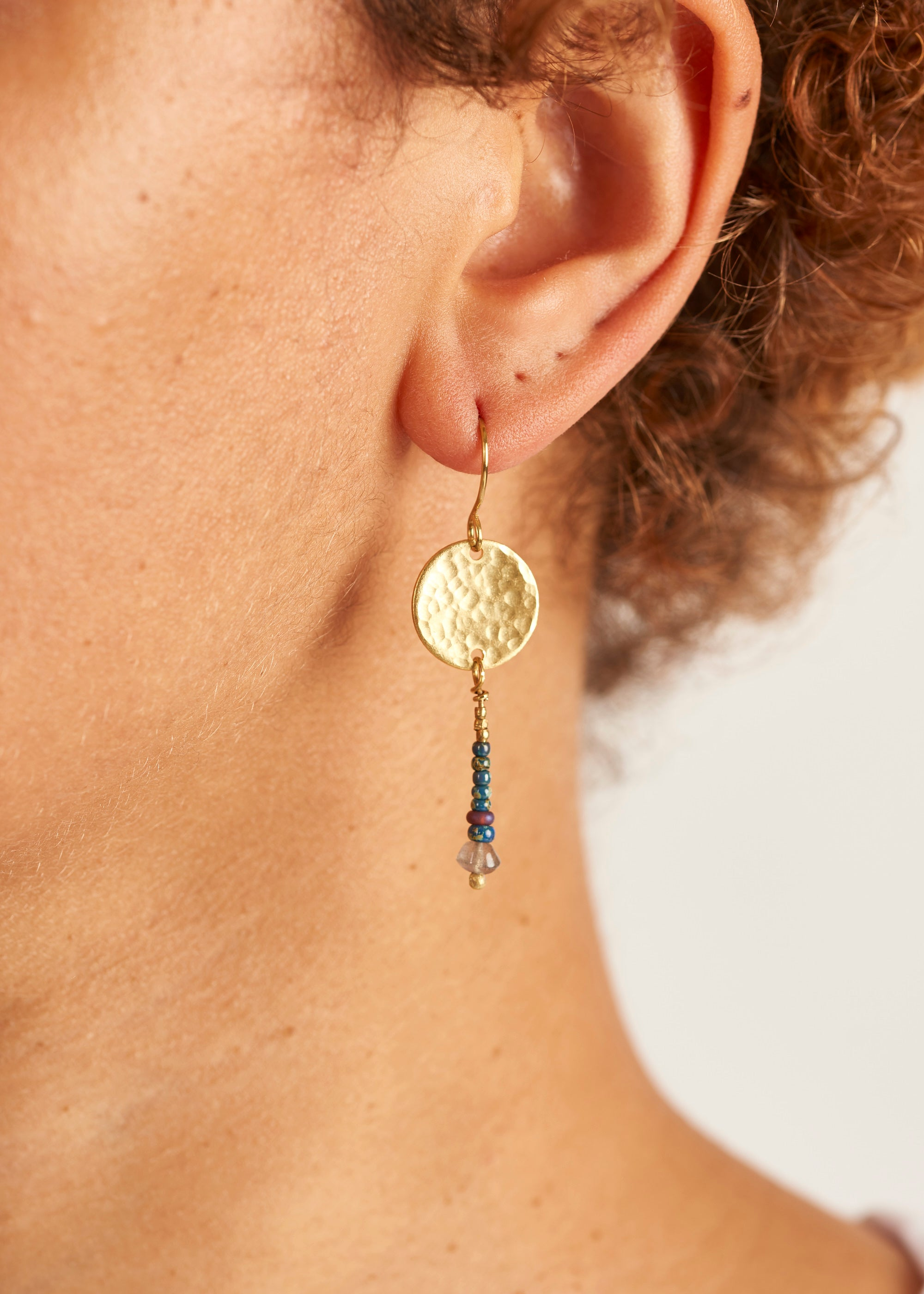 Brass Moon Earrings-Earrings-Sancho's Dress