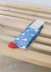 Men's Christmas Blue Sheep Socks-Socks-Sancho's Dress