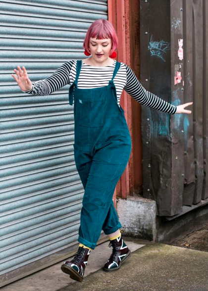 Lucy and Yak Dungarees Corduroy Teal-Dungarees-Sancho's Dress