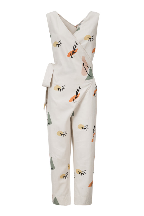 Organic Cotton and Linen Mix Adria Jumpsuit in Tapioca Print from Suite 13