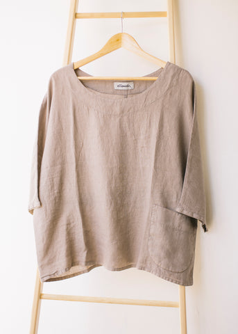 Boxy Square Dolman Top in Beige-Top-Sancho's Dress