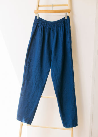 Elastic Back Tapered Trousers in Ink Blue-Trousers-Sancho's Dress