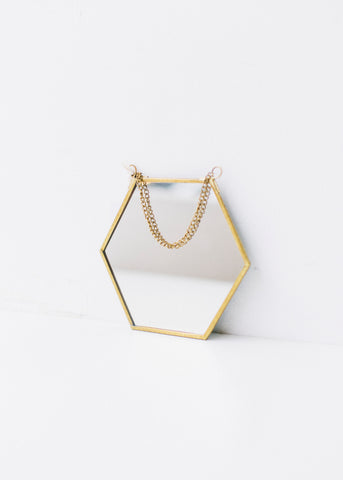 Hexagonal Shaped Brass Finish Mirror-Homewares-Sancho's Dress
