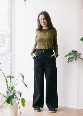 Bella Wide Leg Trousers in Black-Trousers-Sancho's Dress