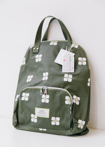 Olive Green Flower Oil Cloth Backpack-Bag-Sancho's Dress