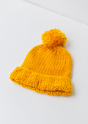 Mustard Pom Pom Beanie-Hat-Sancho's Dress