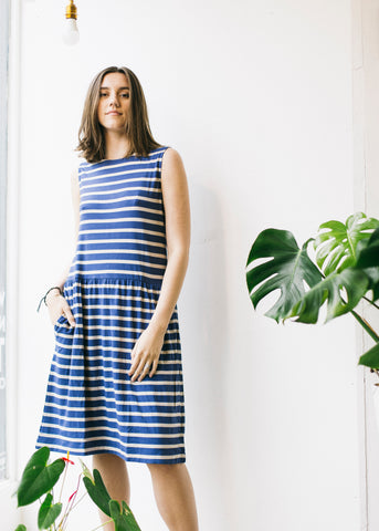 Aisley Bamboo Jersey Dress in Ocean Blue-Dress-Sancho's Dress