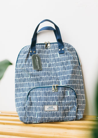 Navy Bamboo Oil Cloth Backpack-Bag-Sancho's Dress
