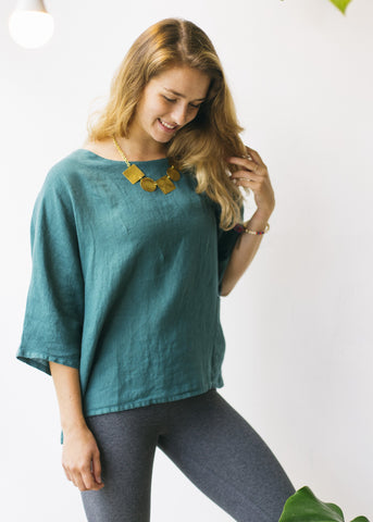 Boxy Square Dolman Top in Green-Top-Sancho's Dress
