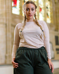 Mira Wide Leg Trousers in Khaki-Trousers-Sancho's Dress