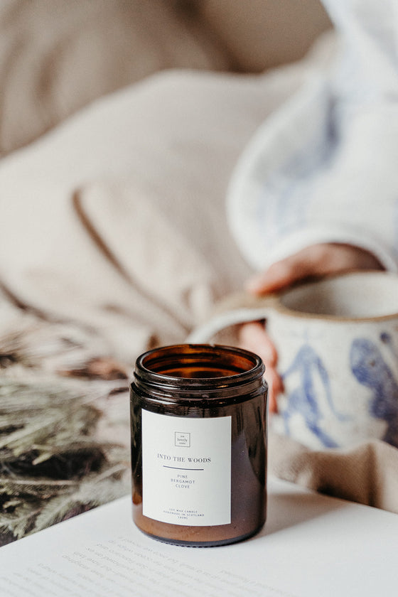 Ethically Made Into The Woods Pine, Clove & Bergamot Scent Candle from Our Lovely Goods