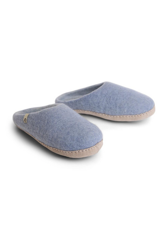 Ethically Made Wool Slippers in Light Blue from Egos