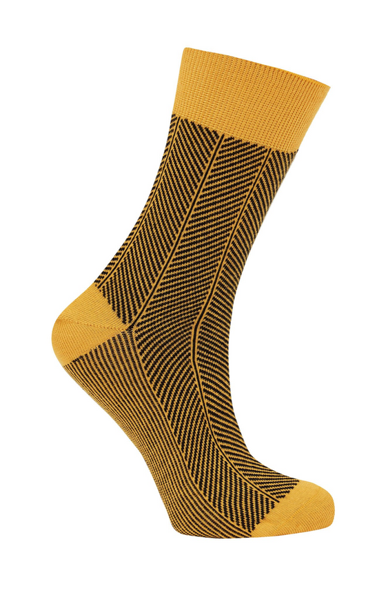 Organic Cotton Herringbone Socks in Gold from Komodo