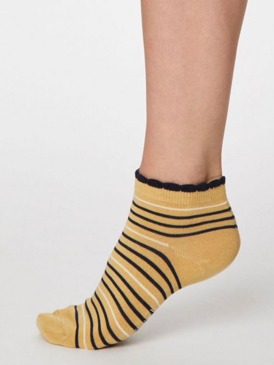 Ethical Bamboo Lorraine Stripey Ankle Socks in Buttercup Yellow from Thought